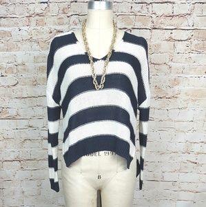 H&M|Blue & Cream Stripe Hi-Low Hem Knit Sweater XS